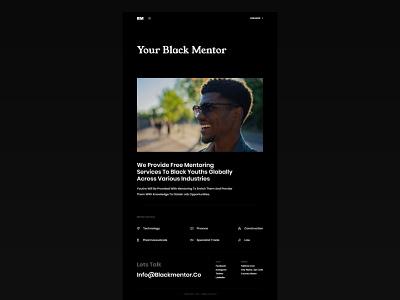 Black Mentor dark design minimal design dark theme ux design ui design mentorship website ui design web design website dark ui user experience design user interface design