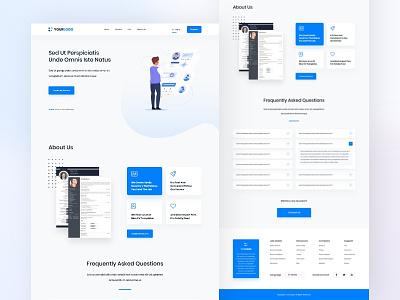 Online CV Maker website design illustration clean design blue gradient web design user interface user experience ux ui