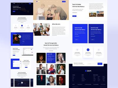 Exim website website ui design website ui website design blue gradient clean design web design user interface user experience ux ui