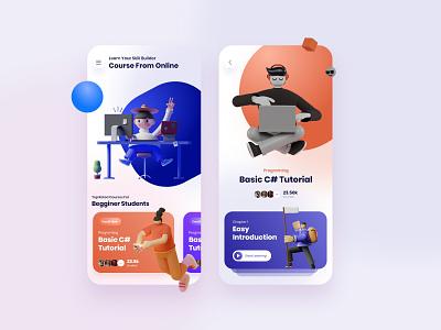 Online Learning App mobile ui mobile app design 3d app design trends clean app design ux design ui design user experience designer user interface design study app learning app online learning