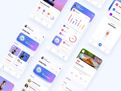 Fits - Fitness App meal plan fitness plan chart fitness app ui fitness app mobile app gradient clean design web design user interface user experience ux ui