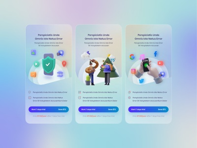 Glassmorphism - Pricing mobile app design pricing page mobile app 3d charecter gradient clean design user interface user experience ux glassmorphism