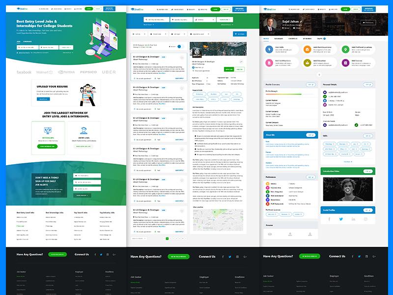 GradSiren illustration job finder job cv job portal clean design vector gradient web design user experience ux user interface ui