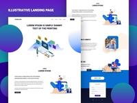 Illustrative Landing Page blue vector clean design gradient web design user experience user interface ux ui