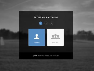Set Up ui set up sign up sign in account flat minimal dark