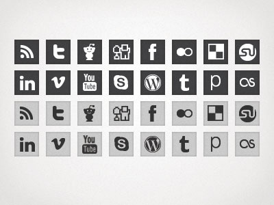 Square Social Icon Pack square simple social icons grey