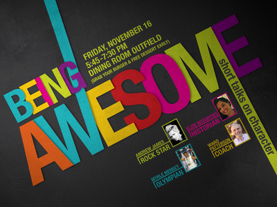 Being Awesome talk poster vector poster design illustration typography
