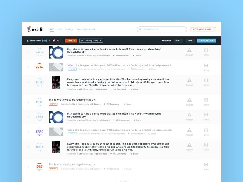 Reddit Redesign Concept website blog news reddit concept redesign ui design web