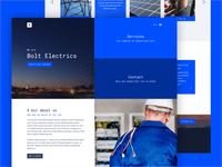 Bolt Electrics modern branding renewable blue green energy electric electrician ux ui design web