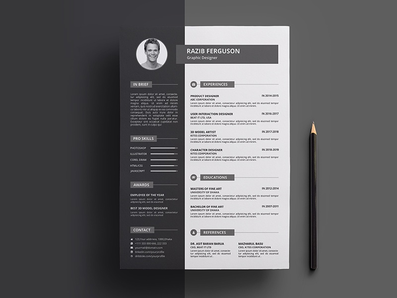 Resume Design By Mahmud Saeef Dribbble Dribbble
