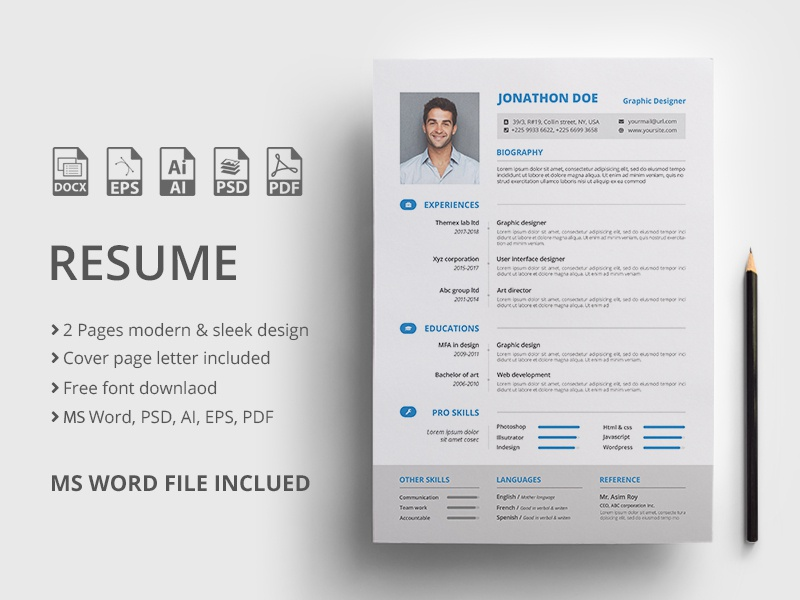 2 Pages Resume Template.Resume Template By Mahmud Saeef On Dribbble