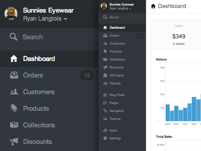 New Shopify Layout ui ui design web app sidebar dark dark sidebar