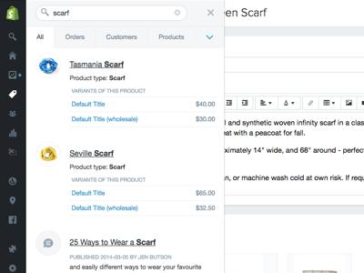 Shopify admin global search search sidebar admin shopify
