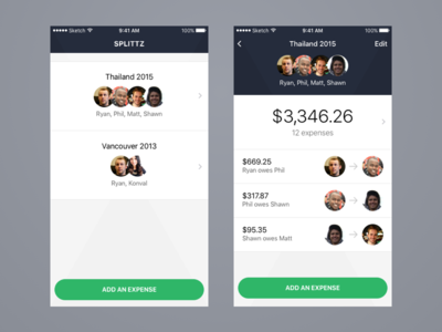 Expense splitting app swift expenses mobile ui ux iphone ios