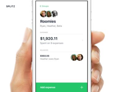Splitz - a simple app for splitting expenses product simple clean ui mobile app responsive web app