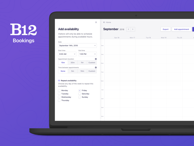 B12 Bookings scheduling appointment booking clean purple sf ui admin design availability appointments schedule bookings