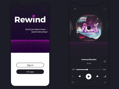 Rewind Music App Screenshots music player signin signup first screen oldschool 90s 80s music music app mobile design mobile app design mobile app mobile ui minimal colors uiux clean ui app