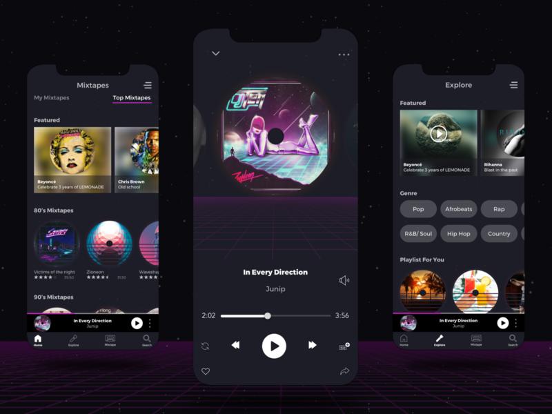 Rewind Music App icons design ui uiux old school music player app music player music app mobile ui mobile design mobile app design mobile app minimal clean 90s 80s style 80s app