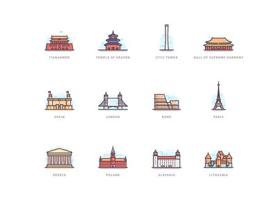 World Architecture Mbe Style Icon mbe sketch ui icon