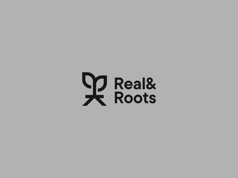 Real & Roots eco monogram design leaf rooted typography nature roots green black letter r design brand logotype logo symbol monogram root