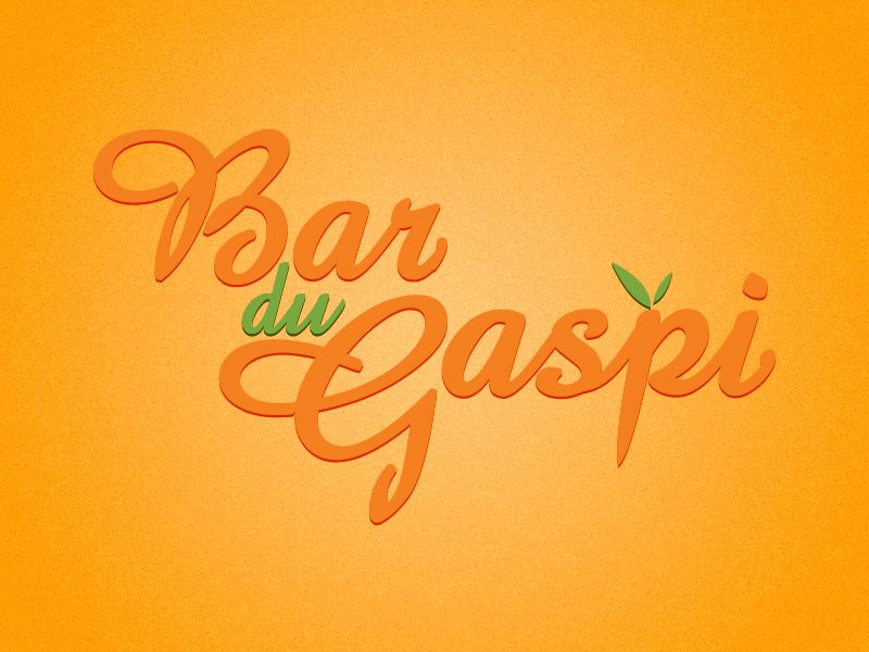 Bar du Gaspi organic food restaurant logo vegetable fruit healthy typography word play orange green bar design menu lettering vegetarian