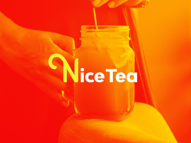 Nice Tea V2 monogram n typeface typography organic natural logotype logo gradient duotone minimal jug cup nature tea ice fruit