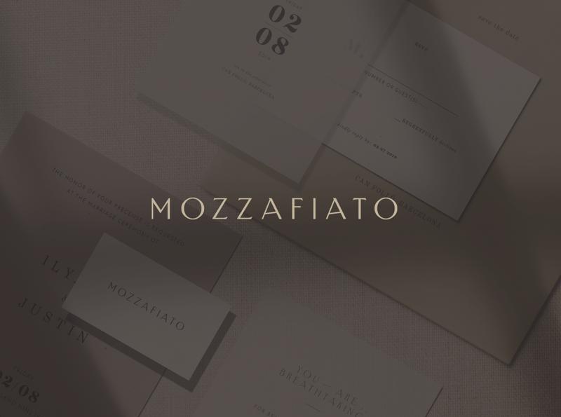 Mozzafiato simple design typography logo design brand mark special wedding card catering service invitation italian minimal elegant luxury logotype logo wedding