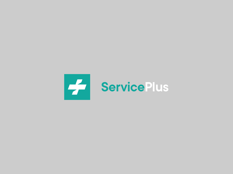 Service Plus design brand logotype logo monogram square box covid virus corona symbol plus medical service
