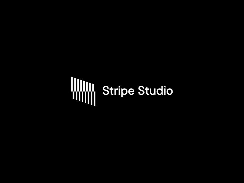 Stripe Studio logo striped lines identity branding box brand mark letter s monogram stripes diagonal lines line minimal typography building architecture studio stripe