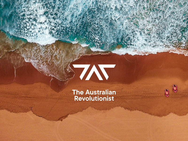 The Australian Revolutionist logo design modern internet australia logotype design typography minimal revolution music podcast system triangle brand logo