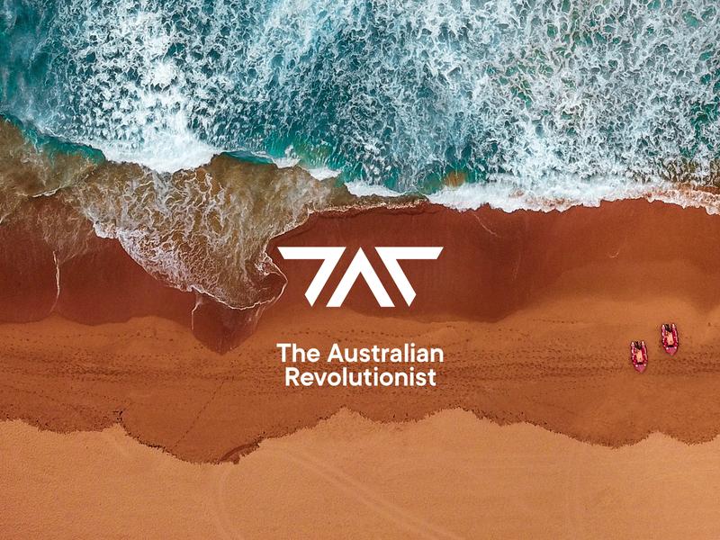 The Australian Revolutionist logo design modern internet australia logotype design typography minimal revolution music podcast system triangle brand logo