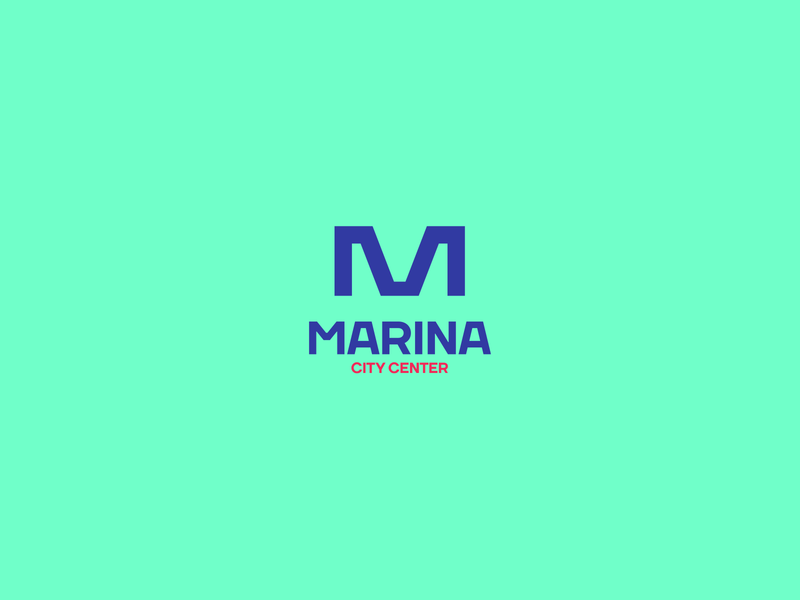 Marina City Center branding design living home architecture building mark blue mall icon symbol monogram logo design logo branding