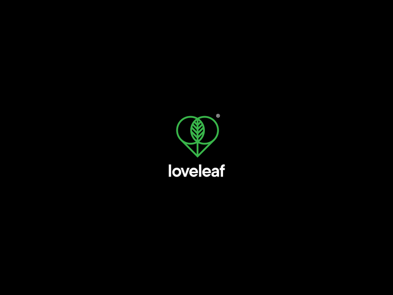 loveleaf logotype design typography minimal monoline simple lovely ui platform web health tree leaf logo heart love