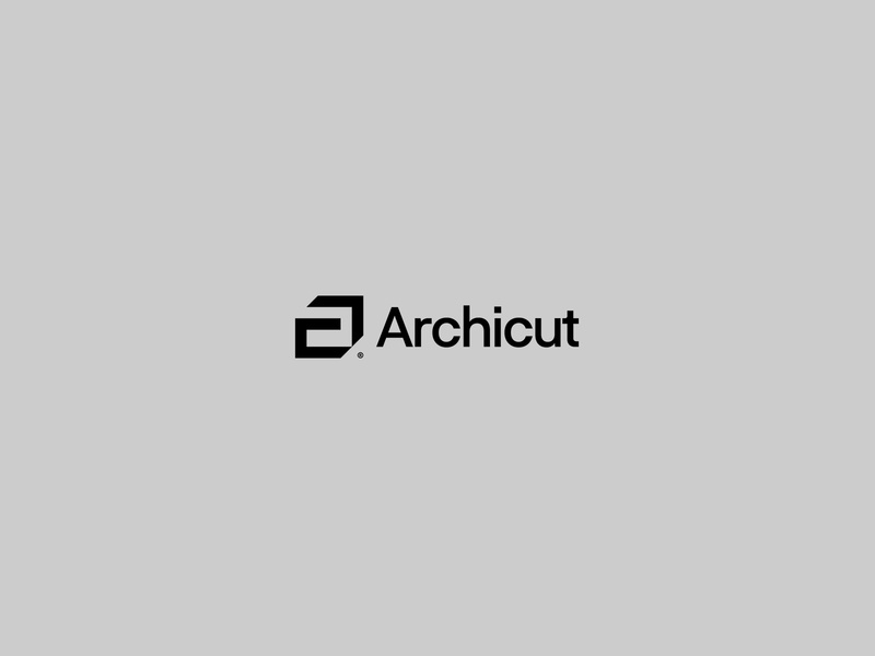 Archicut vector clean symbol type simple typography art design brand logotype monochrome square cube minimal logo architecture