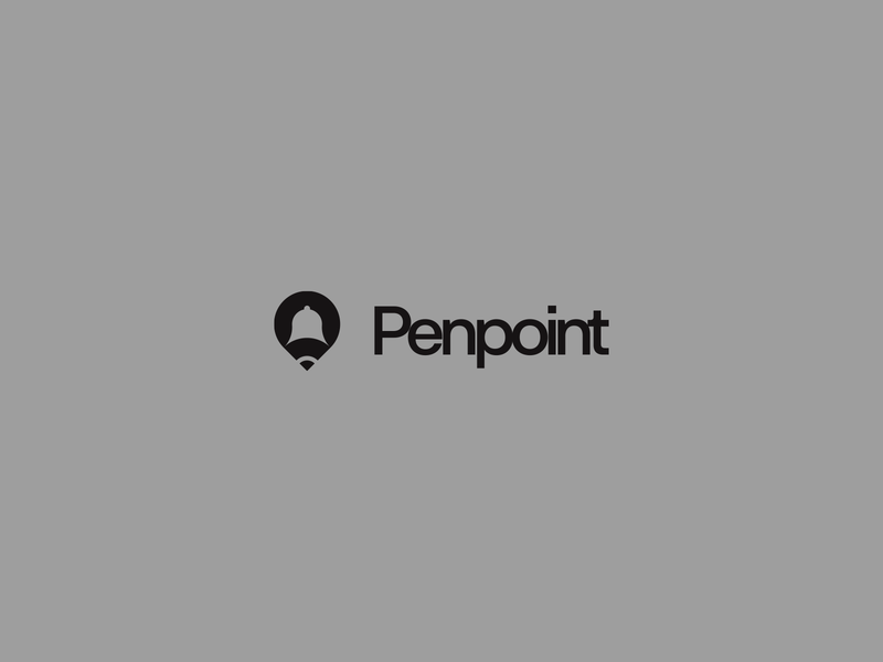Penpoint concept vector symbol type logotype design typography pencil clean simple minimal location map pointer logo pen