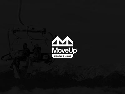 Move Up ski lodge type logotype simple design winter typography logo design coffee lodge snowboard snow ski mountain minimal logo