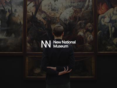 New National Museum concept symbol simple typography logotype clean minimal art museum illusion monogram logodesign brand logo