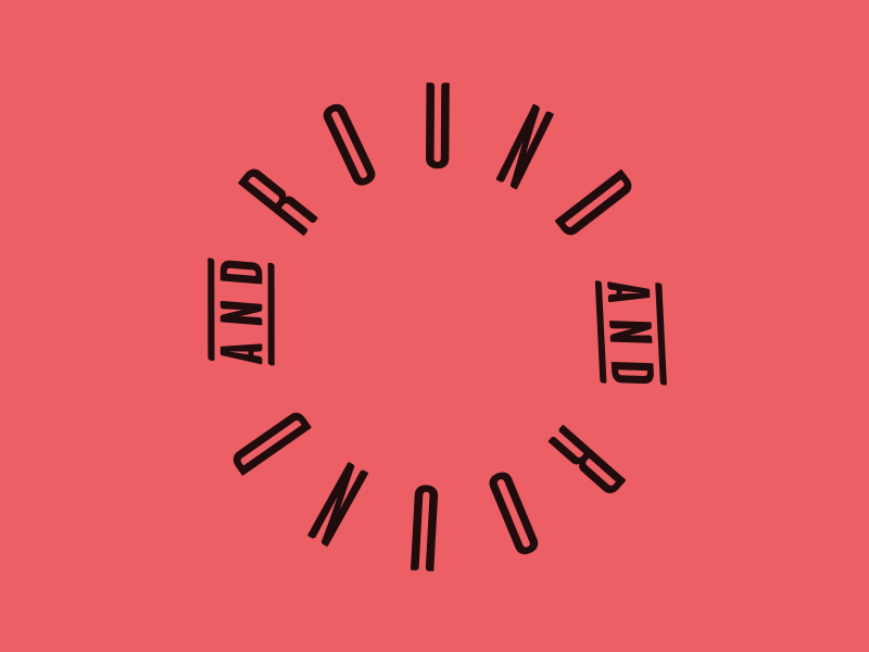 Round & Round minimal eternity loop continuous logo round