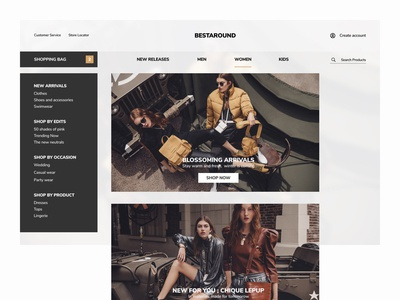 Clothing Shop Landing Page minimal desktop design webapp daily ui grid layout product design clothing brand ecommerce design shopping shop branding ux application ui webdesign website landingpage