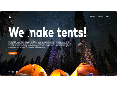 Mountain gear Website design typogaphy campfire sky night forest tourism camp gear mountain tent camping website design web design web ux ui