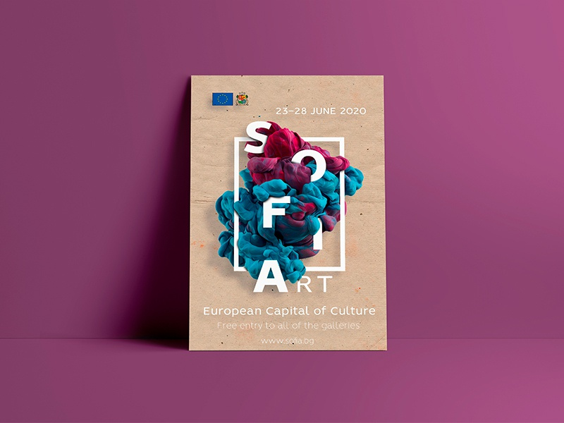 Sofia event poster template. template welcome typography sofia paint firstshot gradient colors liquid cloud poster design debut