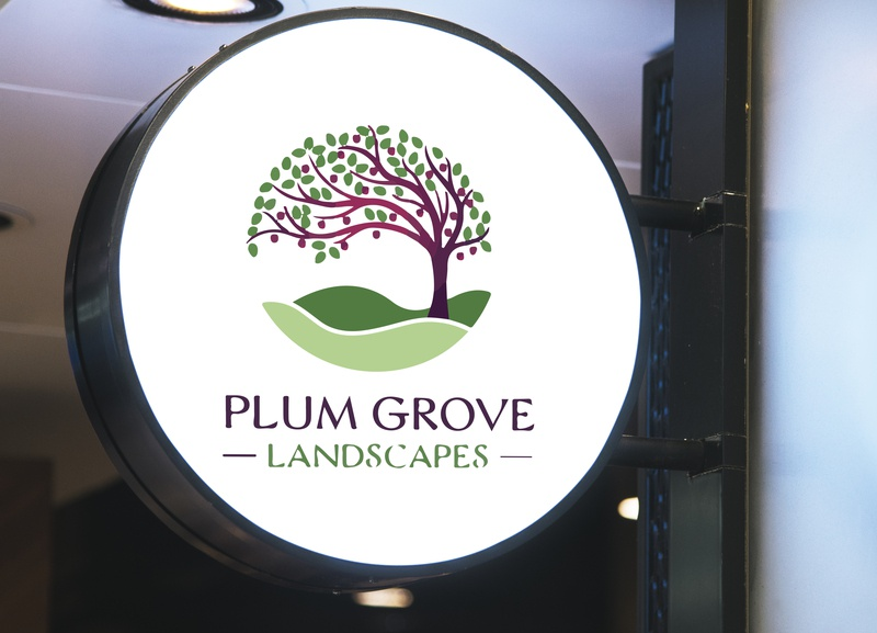 PLUM GROVE illustration design logo