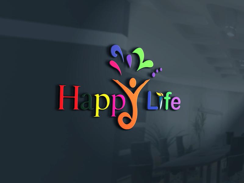 Happy Life app web 3d logo design  logo illustration logo design