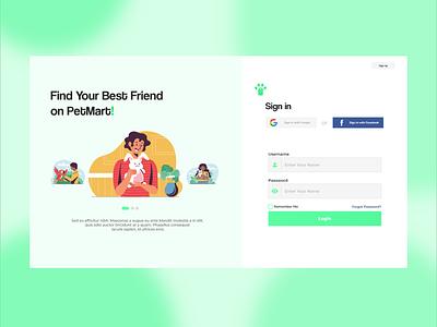 PetMart Login Page pet ux web design uxui ui