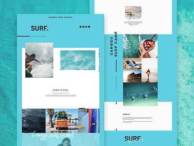 Surf School Landing Page Design landing bright color ocean ui landing page design web design surfing blue surf design website design landing page
