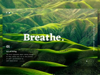 Breathe landing page header exploration