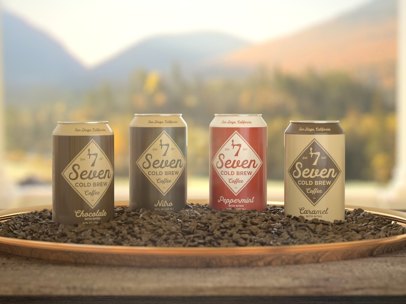 Seven Cold Brew caffeine life still life rustic mountains coffee beans cinema 4d marketing can cans modeling 3d rendering coffee mock up mockup renders products product design