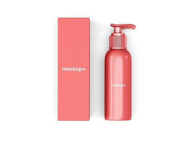 Free Dispenser Bottle with Packaging Mockup