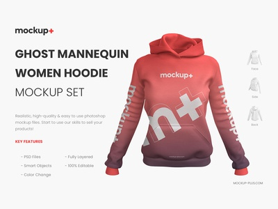 Ghost Mannequin Female Hoodie Mockup Set