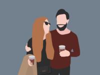 Concert vibes illustration love music concert couple